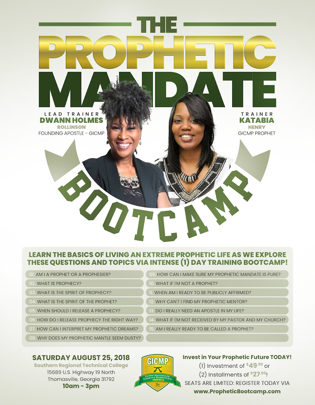 THE PROPHETIC MANDATE - THOMASVILLE GEORGIA - PROPHETIC TRAINING