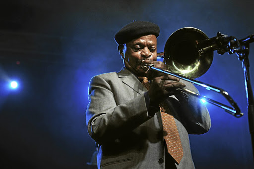 Brass selection: Jonas Gwangwa performs during the 20th Standard Bank Joy of Jazz Festival at the Sandton Convention Centre in Johannesburg. Picture: VELI NHLAPO