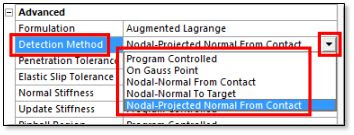 ANSYS варианты выбора точек для расчёта контактного взаимодействия (Detection Method)