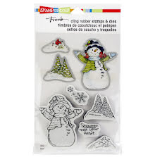 Stampendous Cling Stamp & Die Set 9X5.25 - Snowman Cardinals
