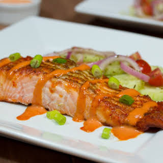 Broiled Salmon with Gluten Free Spicy Mayo Sauce.