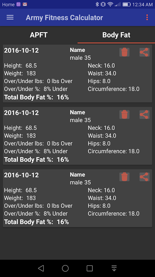 Army Fitness Calculator APFT Android Apps on Google Play – Body Fat Worksheet Army