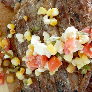 Grilled Ribeyes with Corn & Tomato Relish.