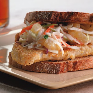Crispy Fish Sandwich With Pineapple Slaw.