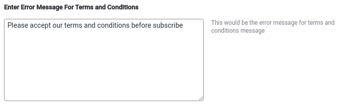 Enter Error Message For Terms and Conditions, MailChimp Configuration