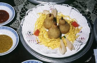Photo: 04634 広州市/絆渓酒家/点心/像生雪梨菓/餡は豚肉、シイタケ、エビ等