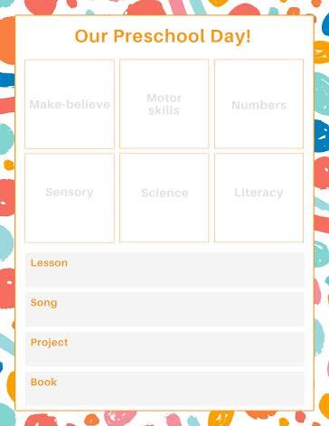 Preschool Lessons - Planner template