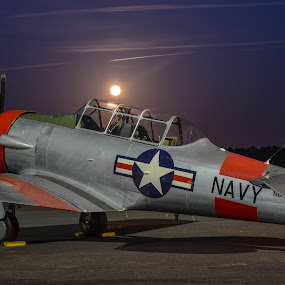 Texan Under a Harvest Moon by Ron Malec - Transportation Airplanes ( warbird, at-6, snj, texan )