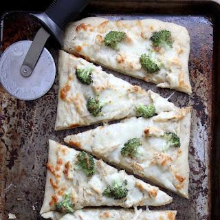 Broccoli and Chicken Alfredo Garlic Bread Pizza.