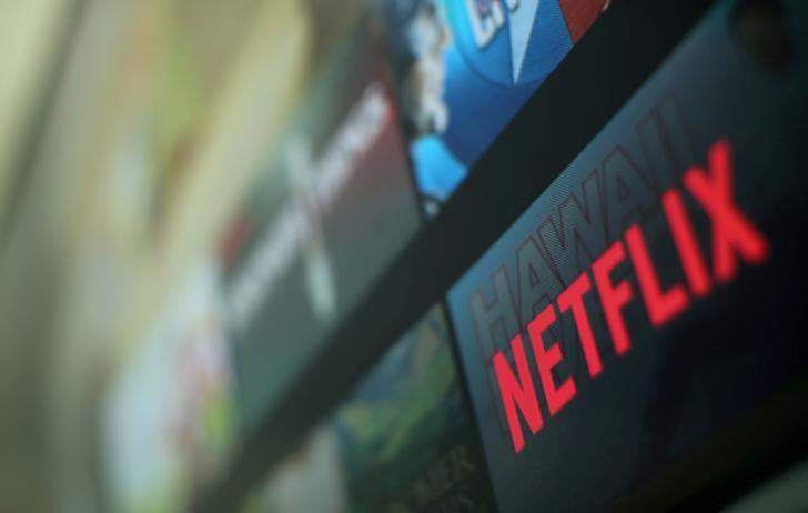 The Netflix logo is pictured on a television. Pic: REUTERS/Mike Blake