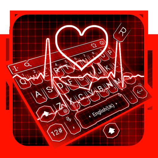 Neon Red Heart Keyboard Theme