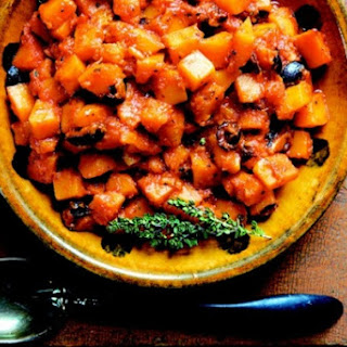 Italian Winter Squash Stew With Tomato, Dry-Cured Olives And Garlic