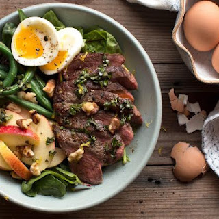 Steak With Green Beans And Apple-walnut Salad