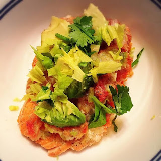 Grilled Salmon with Gazpacho Topping