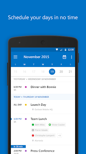 Screenshot 2 for Outlook Mail's Android app'