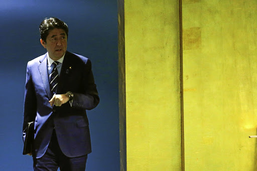 Japanese Prime Minister Shinzo Abe arrives to address the UN General Assembly in New York on September 20 2017. Picture: REUTERS