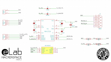 Photo: eLab Hackerspace GSM Access Control System - RS232/LVTTL/TTL Communications Board Schematic