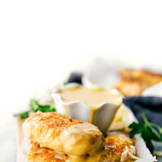 Baked Coconut Crusted Chicken with a Creamy Honey Mustard Dipping Sauce (Video).