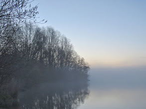Photo: Priorslee Lake Mist clearing for a while. (Ed Wilson)
