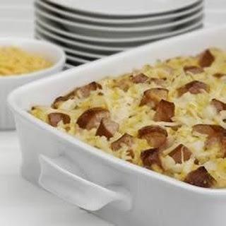 Cheesy Potatoes with Smoked Sausage.
