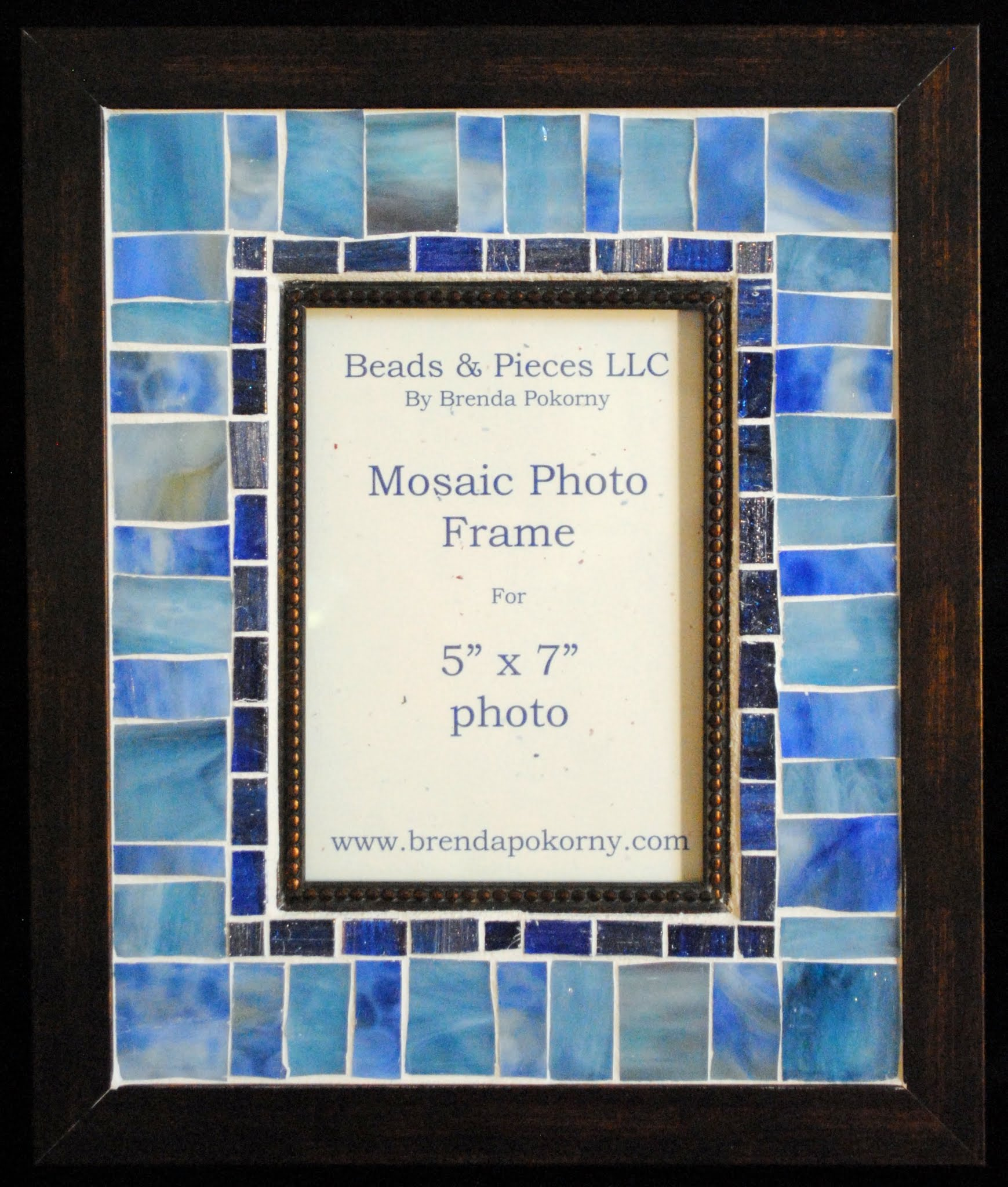 "Blue Medley 5"" x 7"" Mosaic Wall Photo Frame MOF1453"