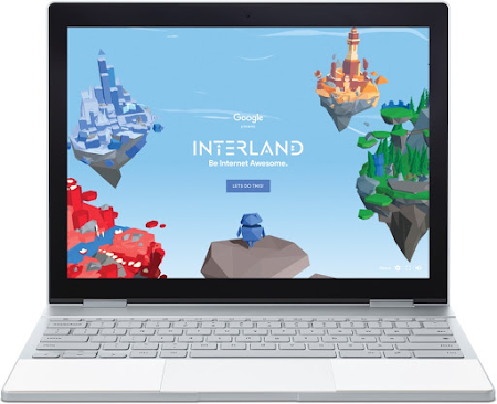 A laptop showing the homescreen for the game Interland on the Be Internet Awesome website.