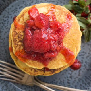 Corn Flour Pancakes with Strawberry Compote (Gluten-Free, Dairy-Free) Recipe