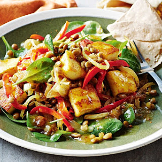 Warm Paneer And Lentil Salad With Chutney Dressing