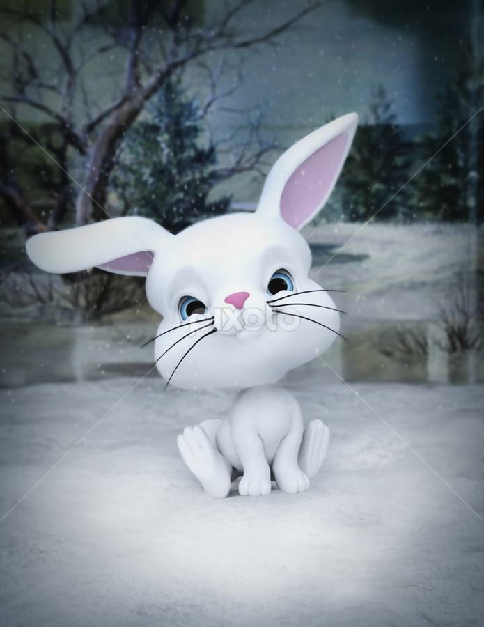 3D designed character of a cute bunny in winter snow by Emily Fnm3d - Illustration Cartoons & Characters ( rabbit, cartoon, joy, footprint, cute, detailed render, january, vibrant color, snow, humor, illustration and painting, animal, bunny, symbol, high resolution, christmas, white, happiness, fun, holiday, young animal, animal ear, winter, easter, season, 3d, celebration, design, characters, traditional festival )