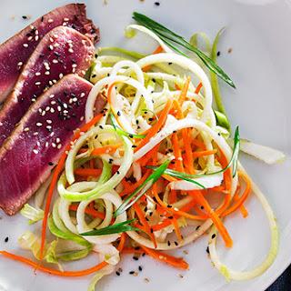 Seared Tuna with Kohlrabi Carrot Slaw.