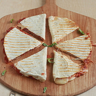 Four-Cheese Pizza Quesadillas with Optional Pepperoni.