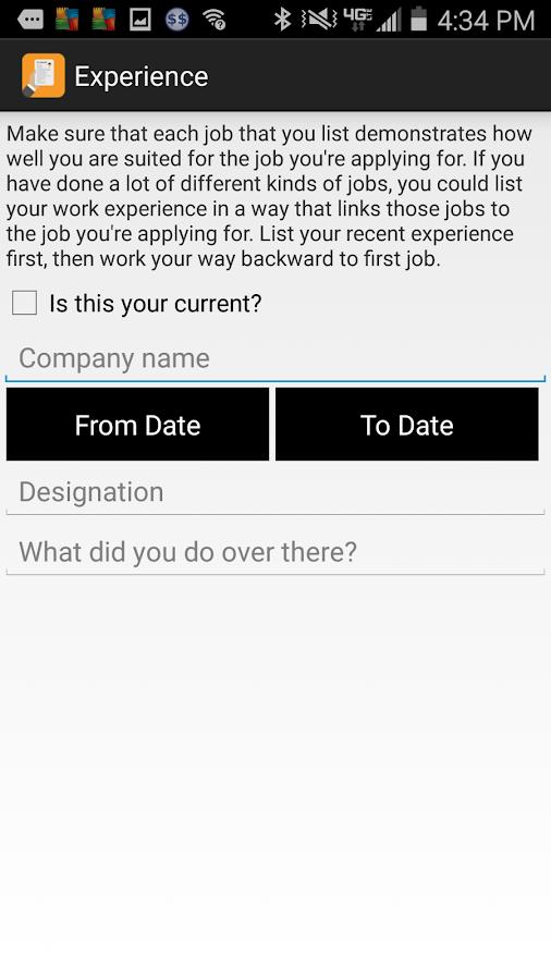resume builder app screenshot