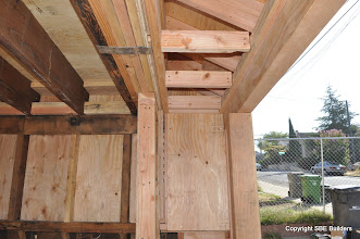 """Photo: Garage fire wall blocking and permiter nailing for 5/8"""" Type X sheetrock."""