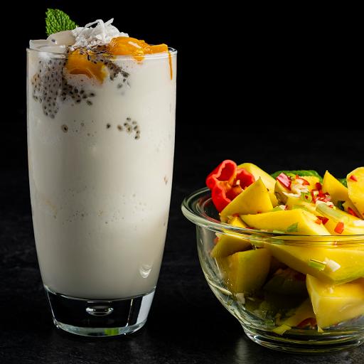 Coconut Cream Mango Smoothie and Trini Mango Chow Duo