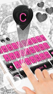 Pink & Black Keyboard with Silver Glitter Hearts - náhled