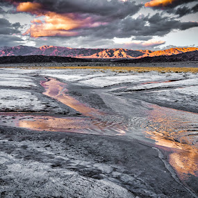 Salt Flat Reflections-Death Valley by Mike Moss - Landscapes Deserts ( reflections, salt flat, death valley, sunset )