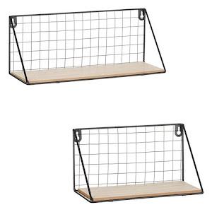 Set 2 rafturi decorative din lemn si metal