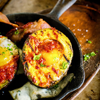Whole 30 Grilled Harissa Avocado Baked Eggs.
