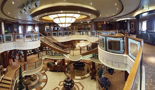 Queen-Victoria-Atrium - A shot of the classy Atrium aboard Queen Victoria.
