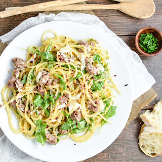 Creamy Brown Butter Pasta with Sausage and Crab.