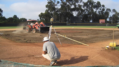Photo: Setting up strings to measure out new infield.