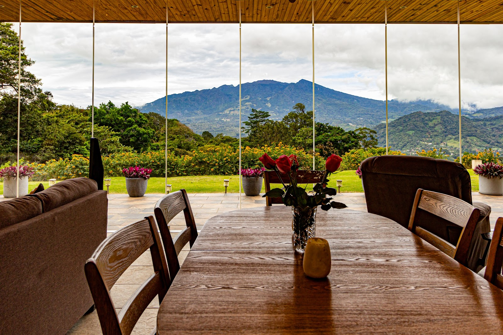 a open plan dining room with a gorgeous mountain view