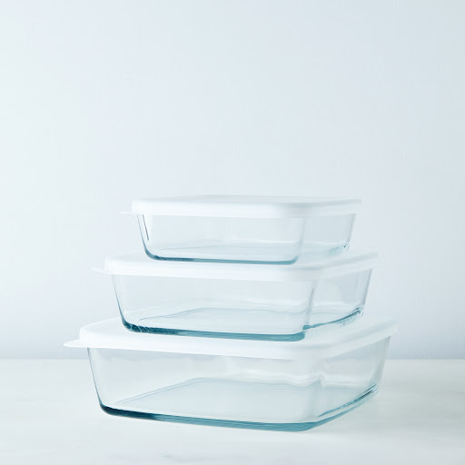 3-Piece Square Borosilicate Glass Baking Dish Set with Lids