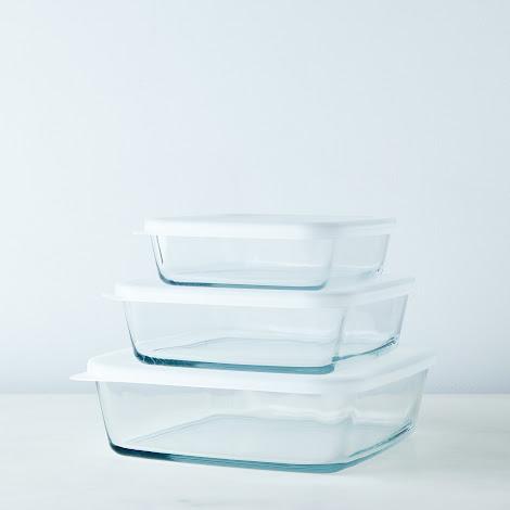 3-Piece Square Borosilicate Glass Baking Dish Set with Lids