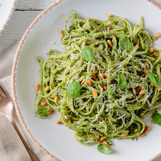 Spring Green Pesto Pasta with Pine Nuts and Parmesan Recipe