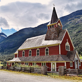Church in Norway  by Nelida Dot - Buildings & Architecture Places of Worship ( red, mountain, church, norway, village, building )