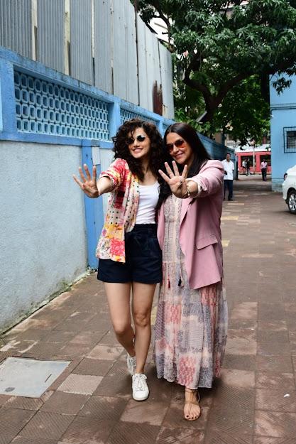 Taapsee Pannu & Neha Dhupia on the set of NoFilterNeha season 4
