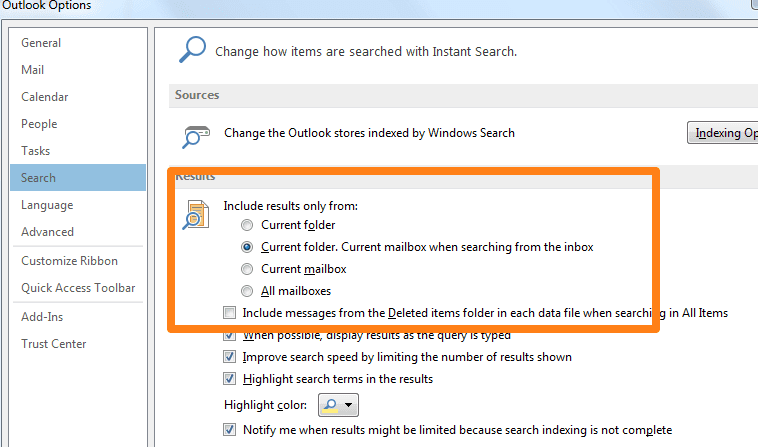 Change Microsoft Outlook 2013 Default Search Location