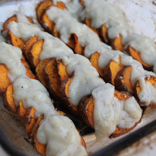 Roasted Sweet Potatoes with Cauliflower Cream Sauce