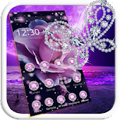 Purple Flower Diamond Butterfly Theme